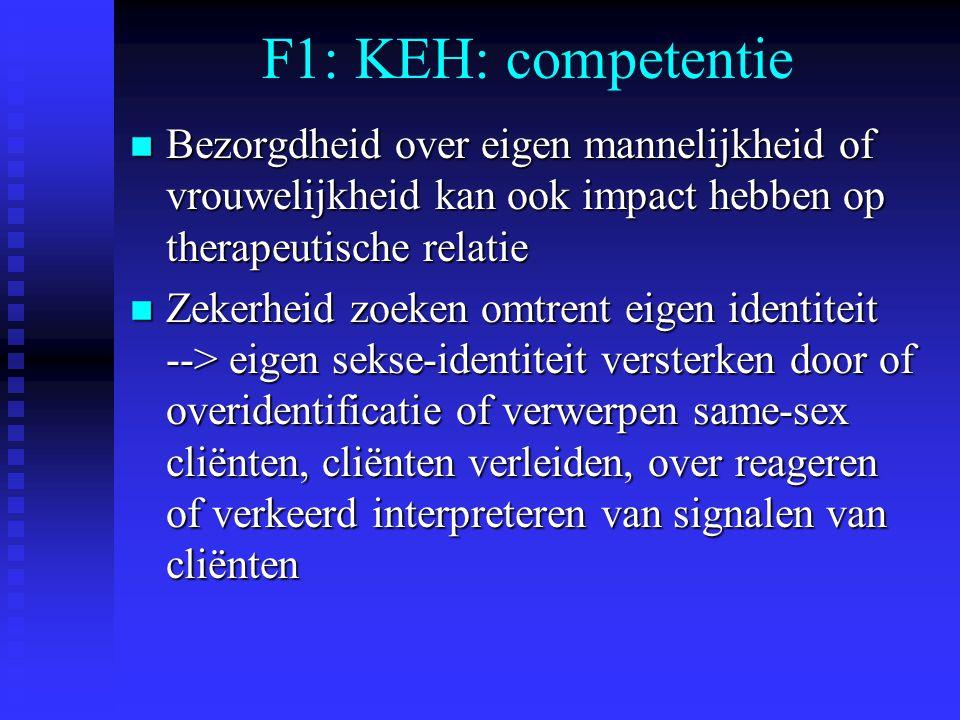 F1: KEH: competentie Bezorgdheid over eigen mannelijkheid of vrouwelijkheid kan ook impact hebben op therapeutische relatie.