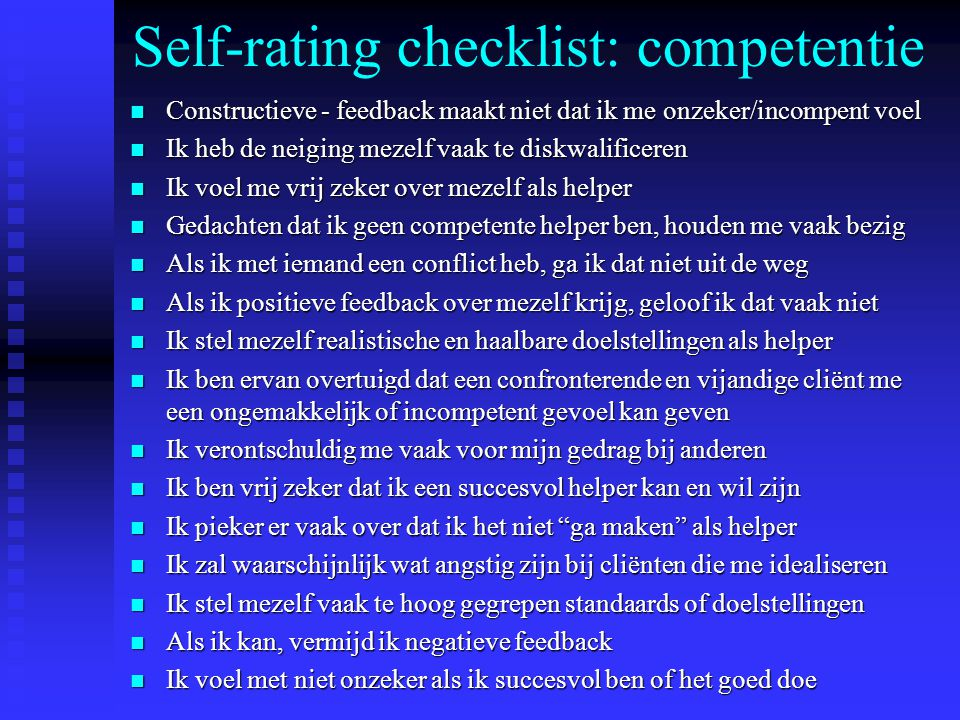 Self-rating checklist: competentie