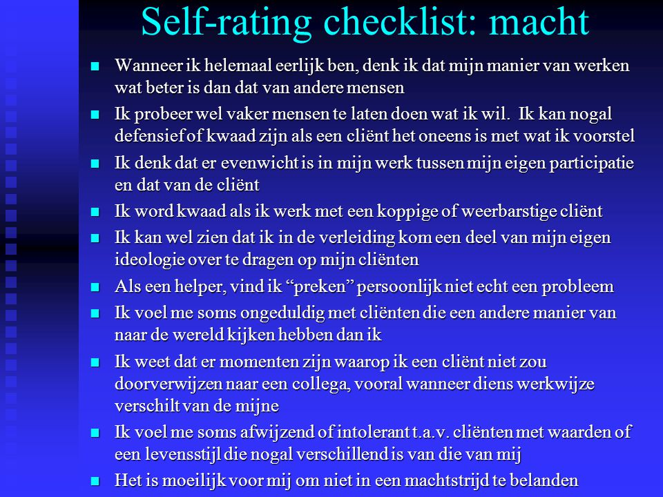 Self-rating checklist: macht