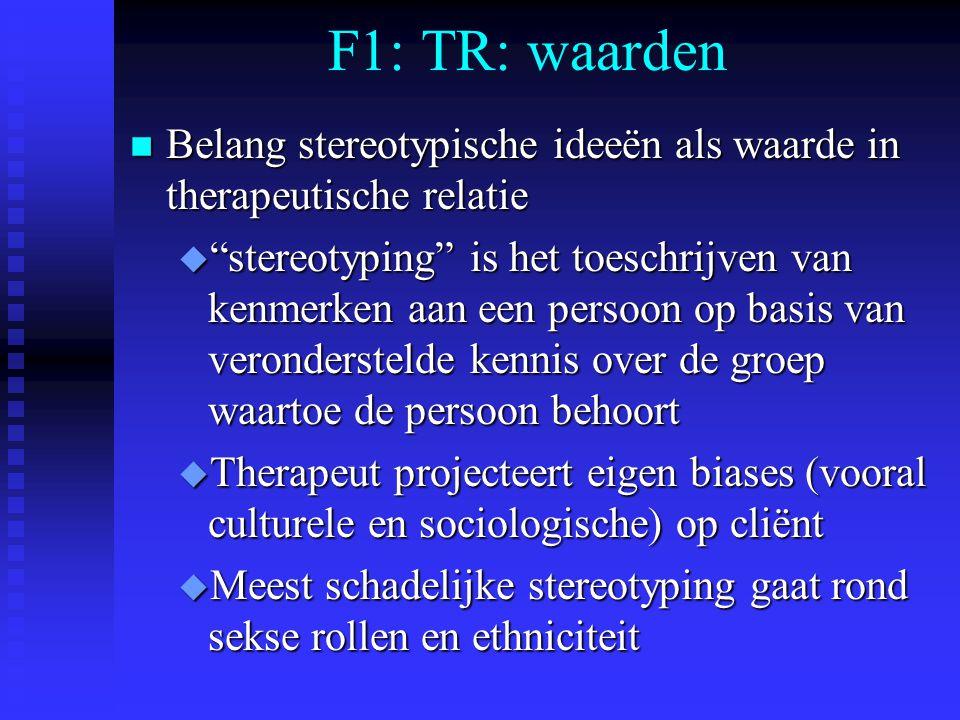 F1: TR: waarden Belang stereotypische ideeën als waarde in therapeutische relatie.