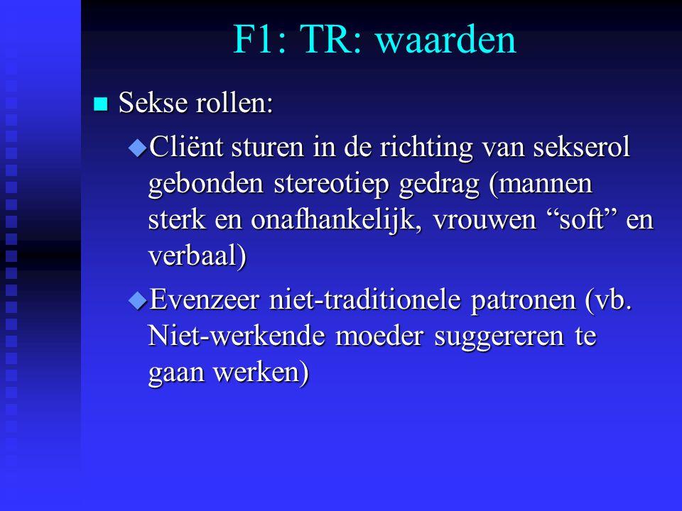F1: TR: waarden Sekse rollen: