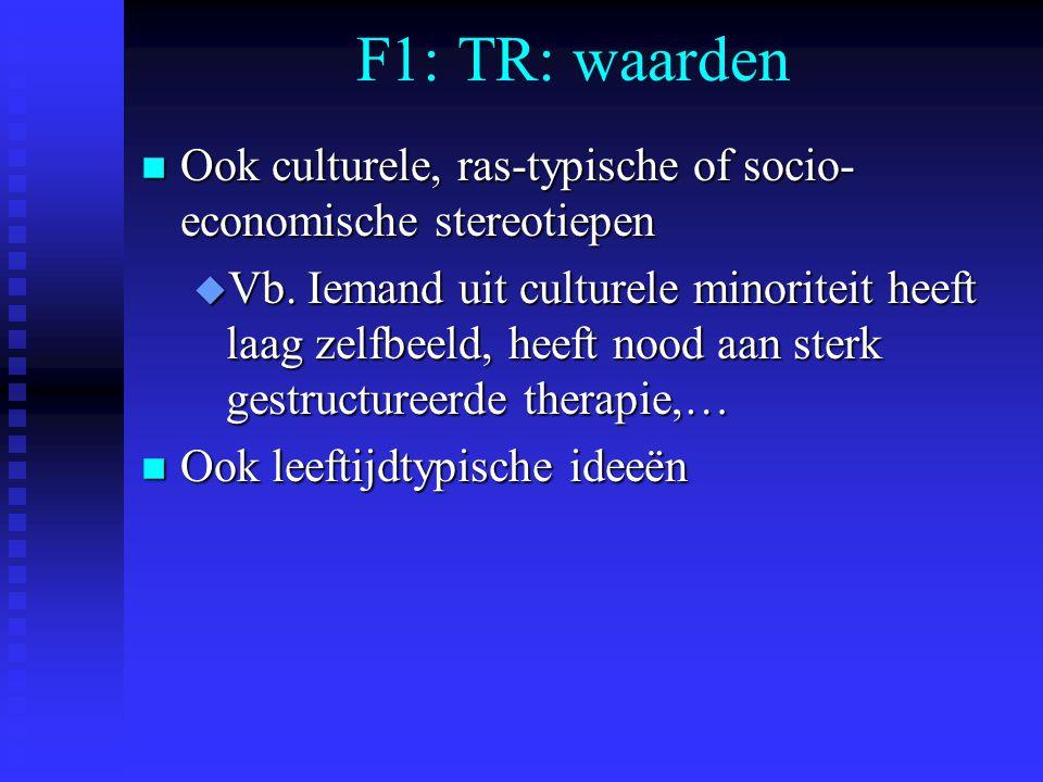 F1: TR: waarden Ook culturele, ras-typische of socio-economische stereotiepen.