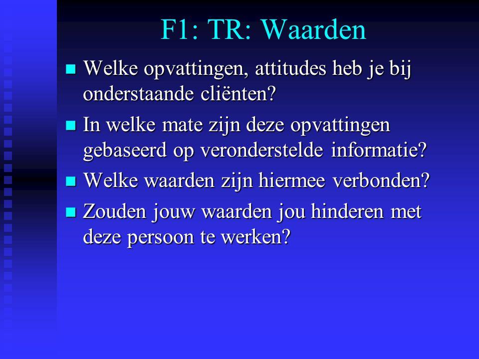 F1: TR: Waarden Welke opvattingen, attitudes heb je bij onderstaande cliënten