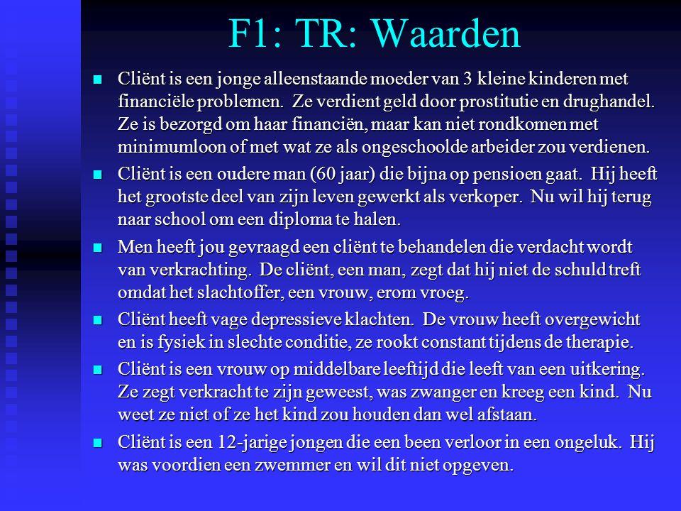 F1: TR: Waarden