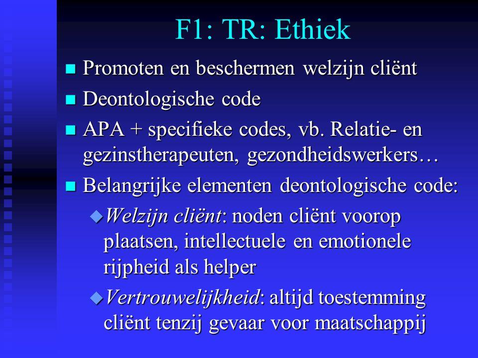 F1: TR: Ethiek Promoten en beschermen welzijn cliënt