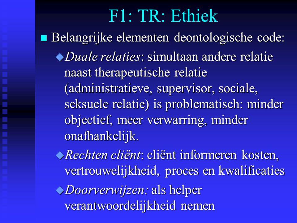 F1: TR: Ethiek Belangrijke elementen deontologische code: