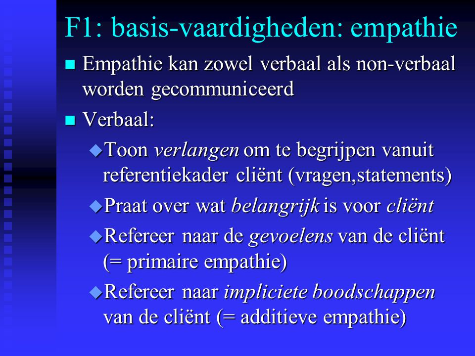 F1: basis-vaardigheden: empathie