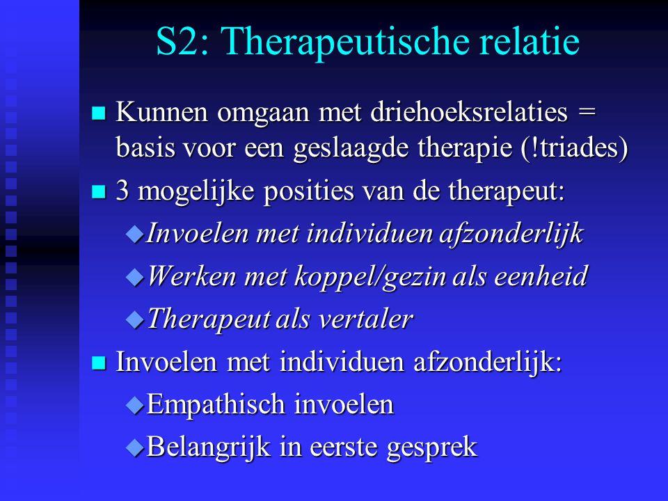 S2: Therapeutische relatie