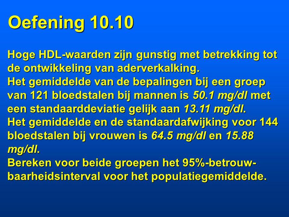 Oefening 10.10 Hoge HDL-waarden zijn gunstig met betrekking tot de ontwikkeling van aderverkalking.