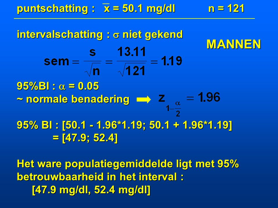 MANNEN puntschatting : x = 50.1 mg/dl n = 121