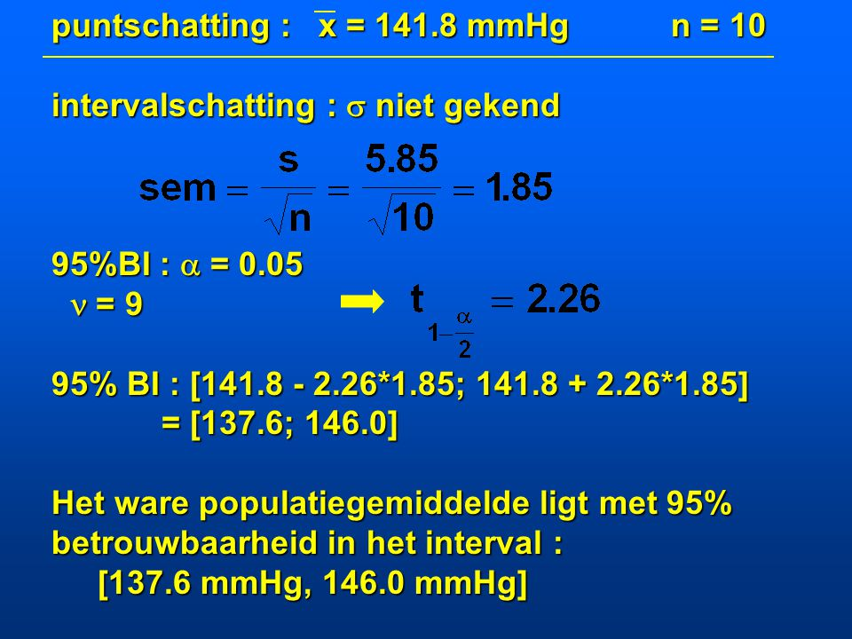 puntschatting : x = 141.8 mmHg n = 10
