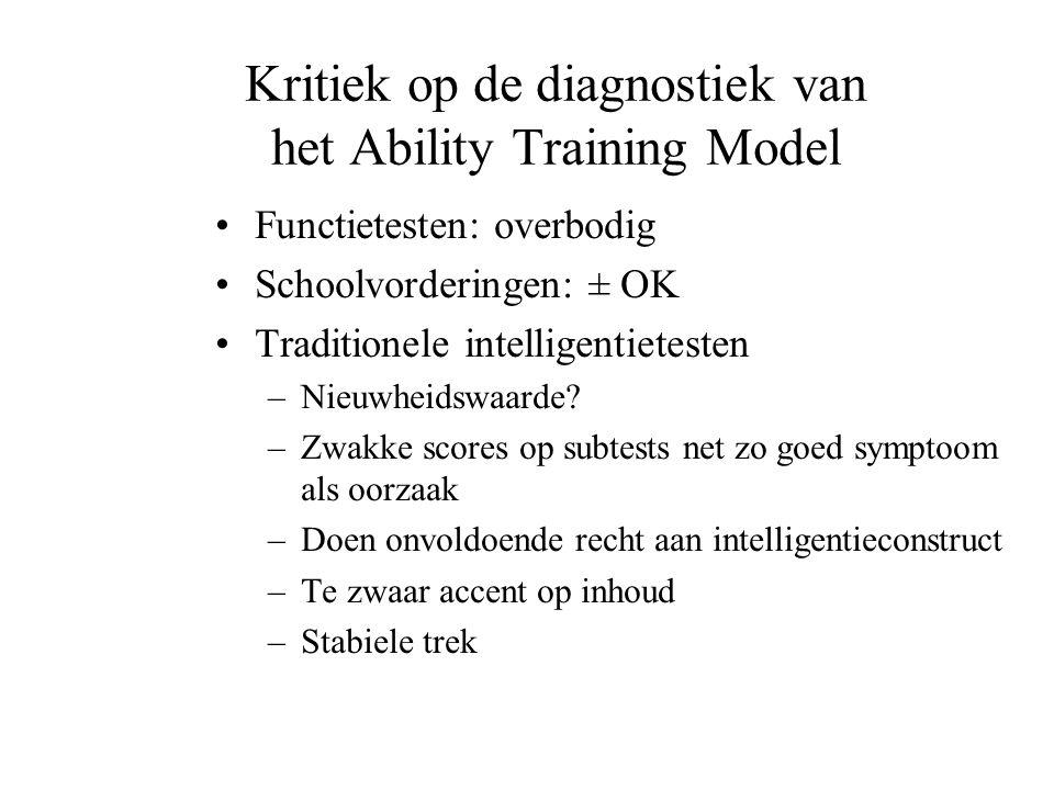 Kritiek op de diagnostiek van het Ability Training Model