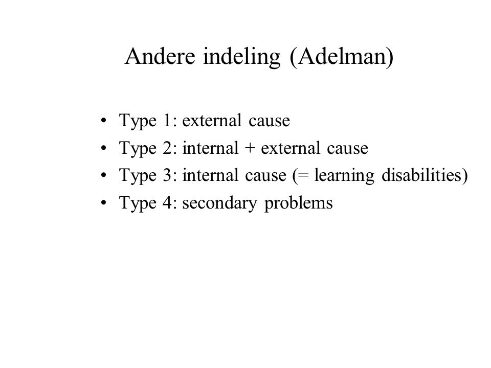 Andere indeling (Adelman)