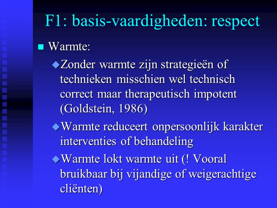 F1: basis-vaardigheden: respect