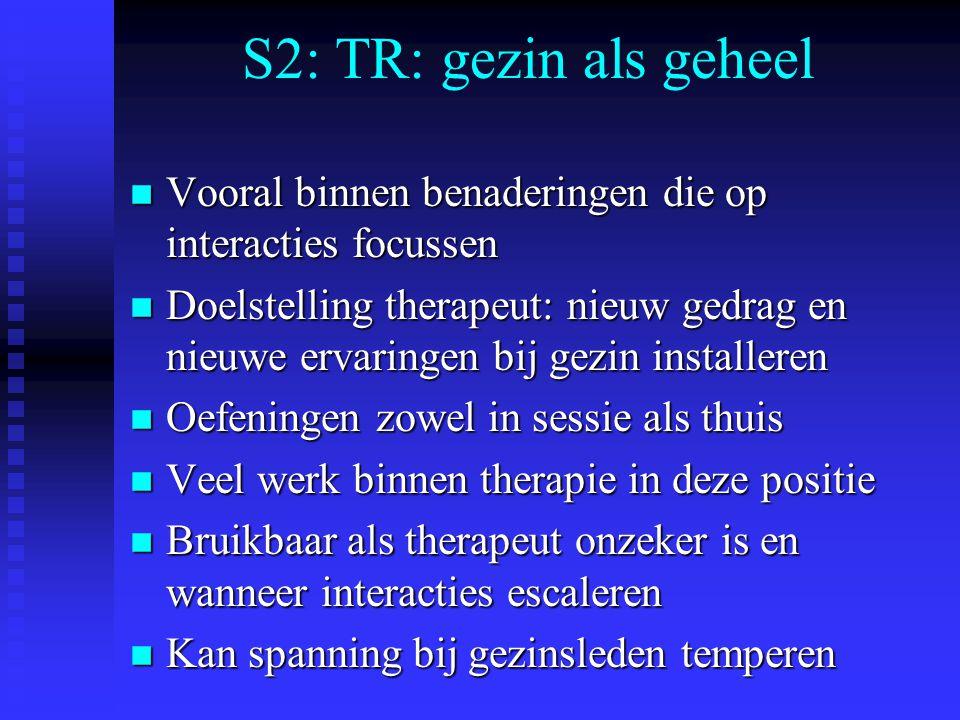 S2: TR: gezin als geheel Vooral binnen benaderingen die op interacties focussen.