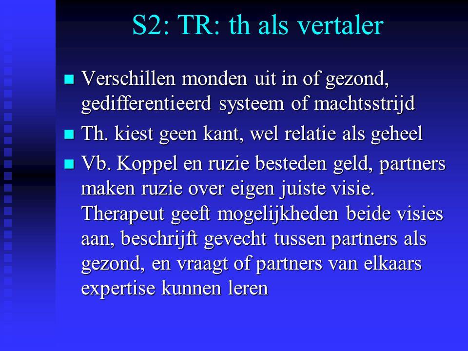 S2: TR: th als vertaler Verschillen monden uit in of gezond, gedifferentieerd systeem of machtsstrijd.