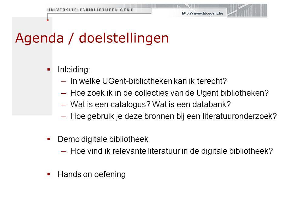 Agenda / doelstellingen