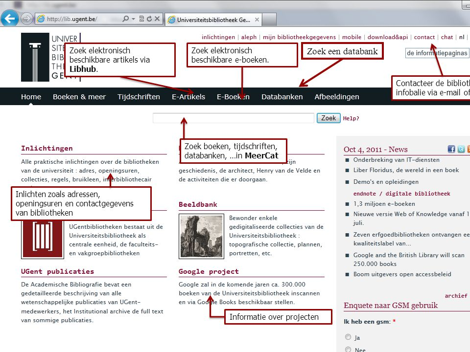 Zoek een databank Zoek elektronisch beschikbare artikels via Libhub.