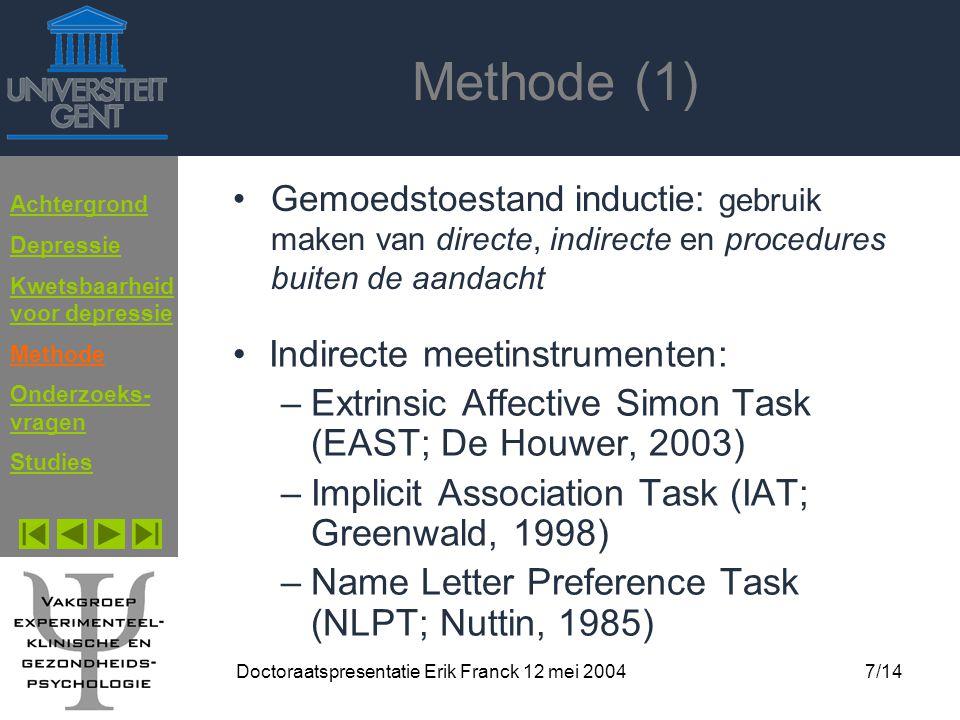 Doctoraatspresentatie Erik Franck 12 mei 2004
