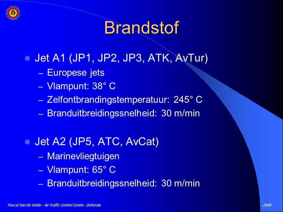 Brandstof Jet A1 (JP1, JP2, JP3, ATK, AvTur) Jet A2 (JP5, ATC, AvCat)