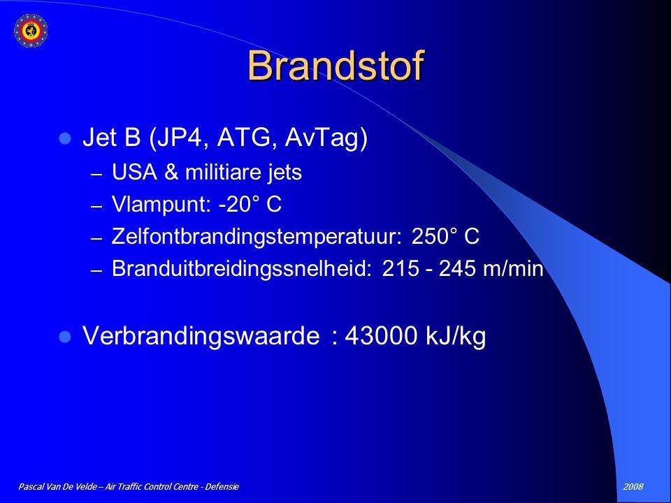 Brandstof Jet B (JP4, ATG, AvTag) Verbrandingswaarde : 43000 kJ/kg
