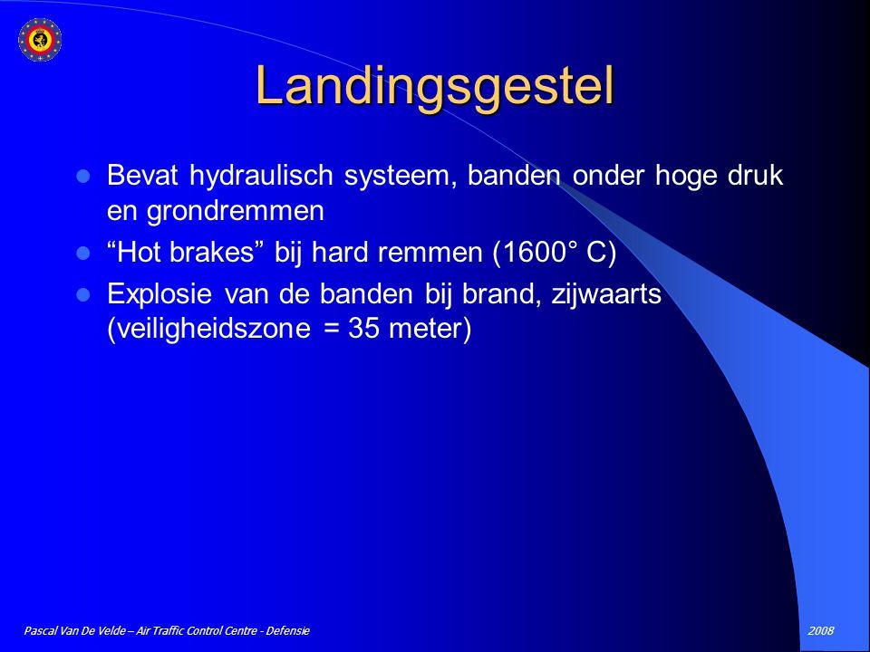 Landingsgestel Bevat hydraulisch systeem, banden onder hoge druk en grondremmen. Hot brakes bij hard remmen (1600° C)