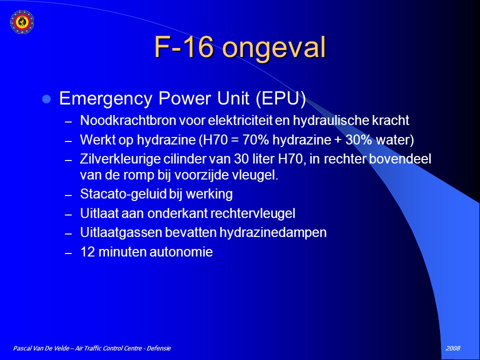 F-16 ongeval Emergency Power Unit (EPU)