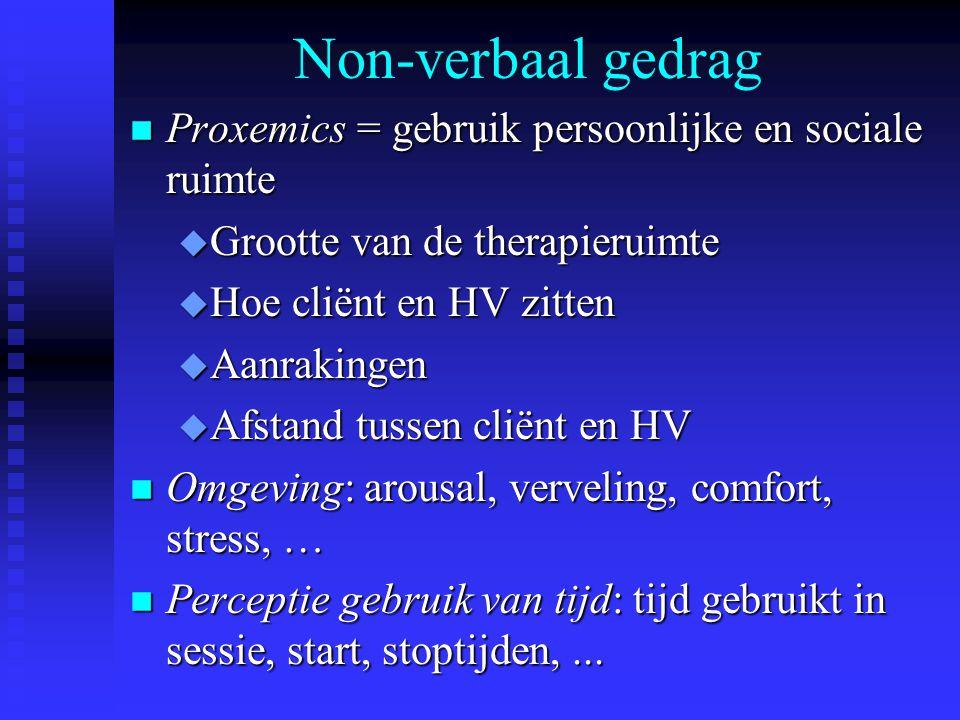 Non-verbaal gedrag Proxemics = gebruik persoonlijke en sociale ruimte