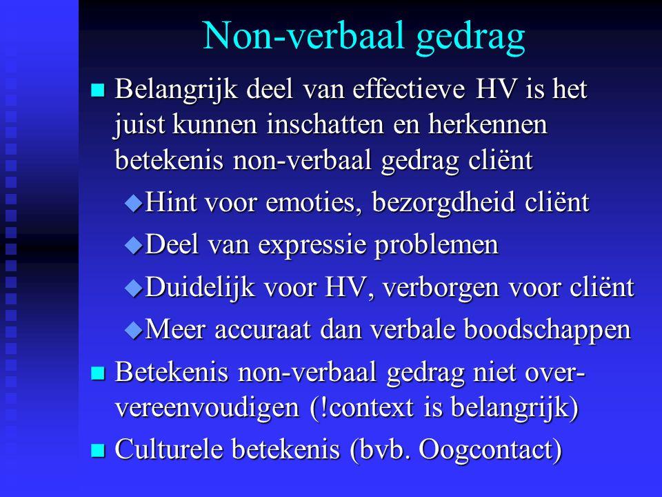 Non-verbaal gedrag Belangrijk deel van effectieve HV is het juist kunnen inschatten en herkennen betekenis non-verbaal gedrag cliënt.
