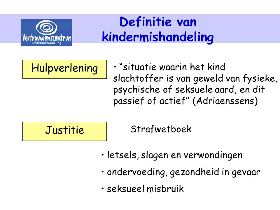 Definitie van kindermishandeling