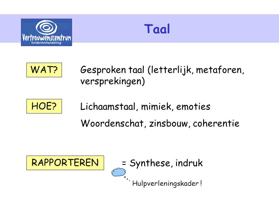 Taal WAT Gesproken taal (letterlijk, metaforen, versprekingen) HOE