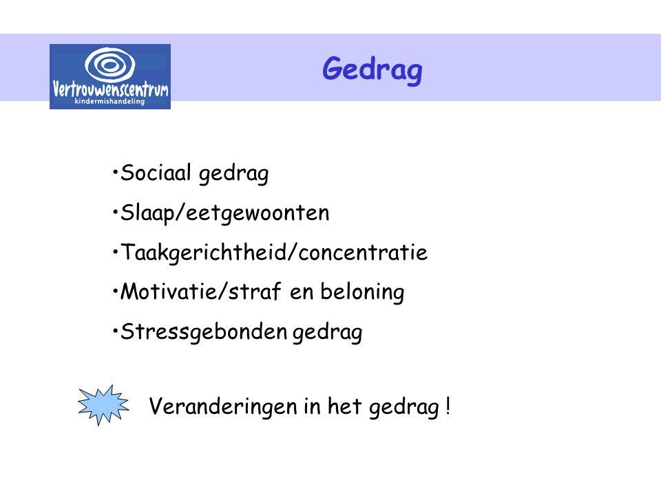 Gedrag Sociaal gedrag Slaap/eetgewoonten Taakgerichtheid/concentratie