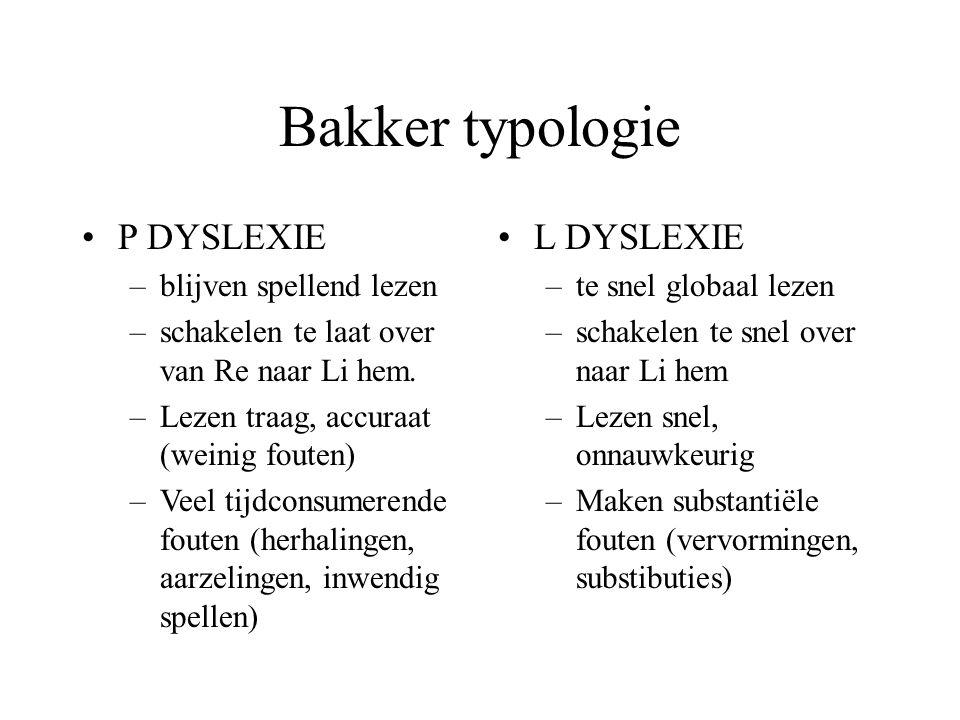 Bakker typologie P DYSLEXIE L DYSLEXIE blijven spellend lezen