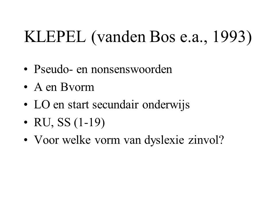 KLEPEL (vanden Bos e.a., 1993) Pseudo- en nonsenswoorden A en Bvorm