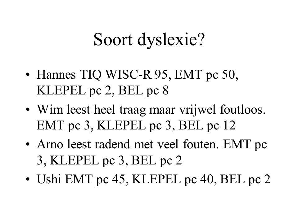 Soort dyslexie Hannes TIQ WISC-R 95, EMT pc 50, KLEPEL pc 2, BEL pc 8