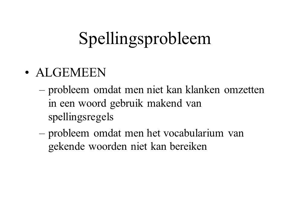 Spellingsprobleem ALGEMEEN