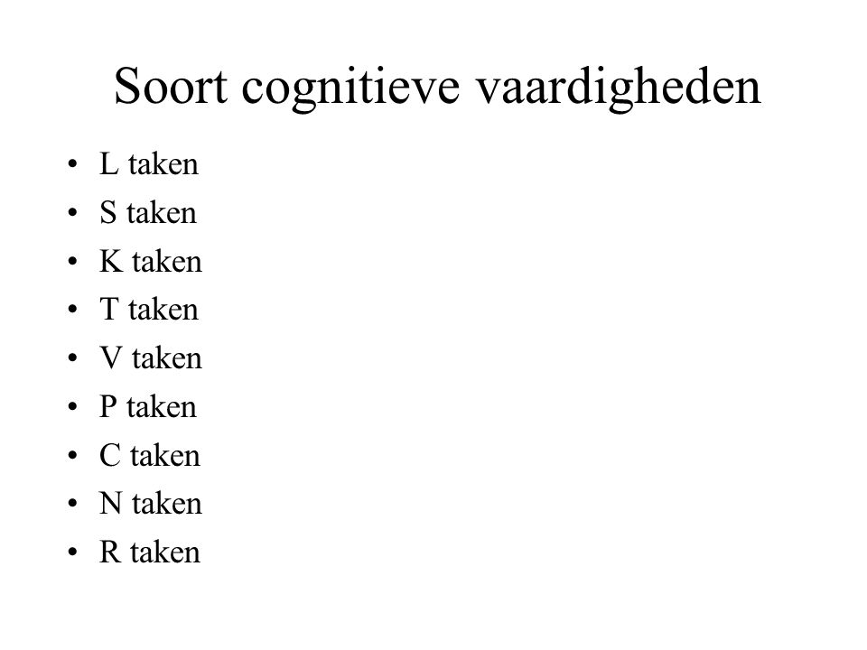 Soort cognitieve vaardigheden