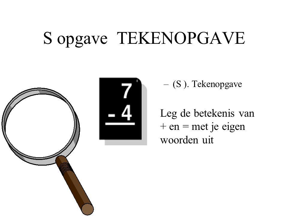 S opgave TEKENOPGAVE (S ). Tekenopgave Leg de betekenis van + en = met je eigen woorden uit