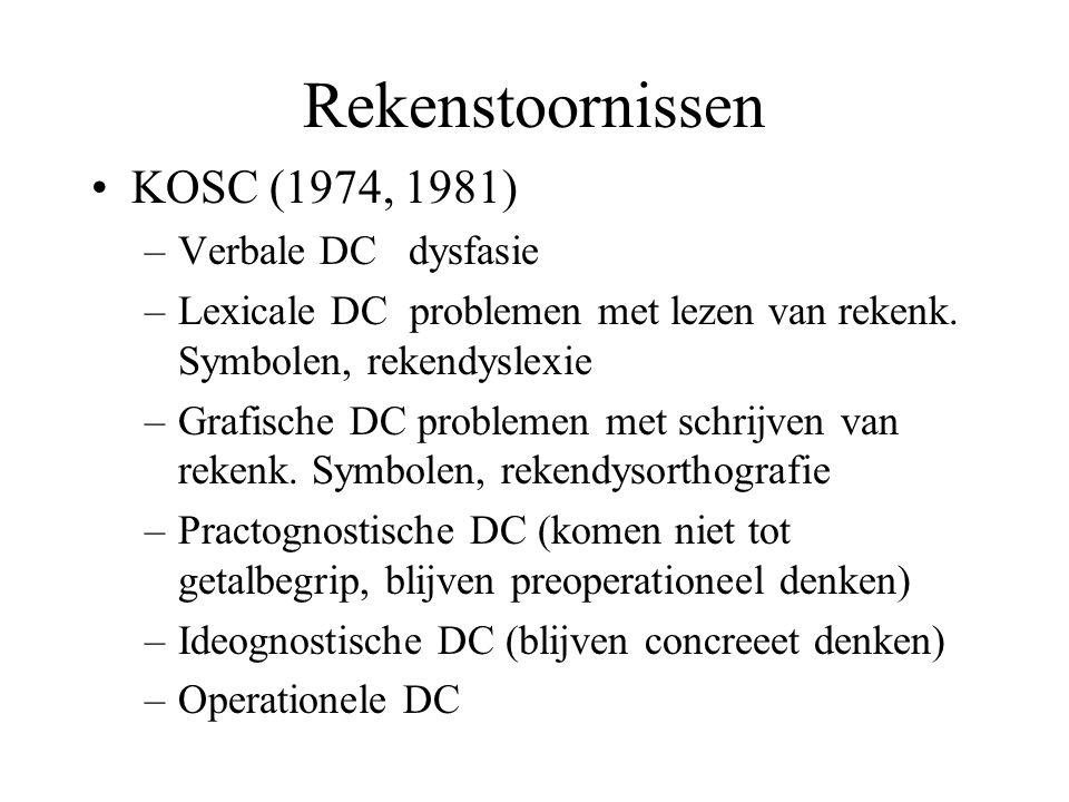 Rekenstoornissen KOSC (1974, 1981) Verbale DC dysfasie