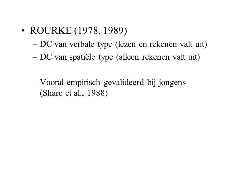 ROURKE (1978, 1989) DC van verbale type (lezen en rekenen valt uit)