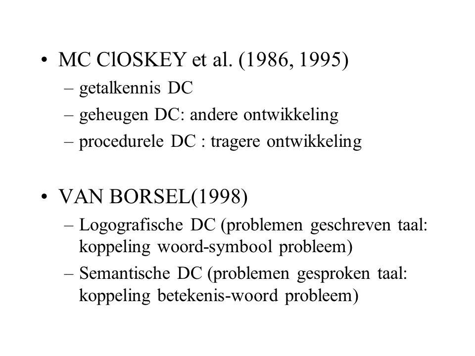 MC ClOSKEY et al. (1986, 1995) VAN BORSEL(1998) getalkennis DC