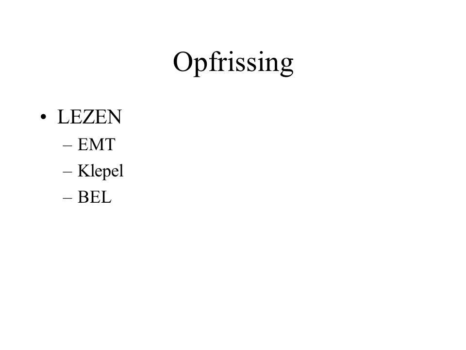 Opfrissing LEZEN EMT Klepel BEL