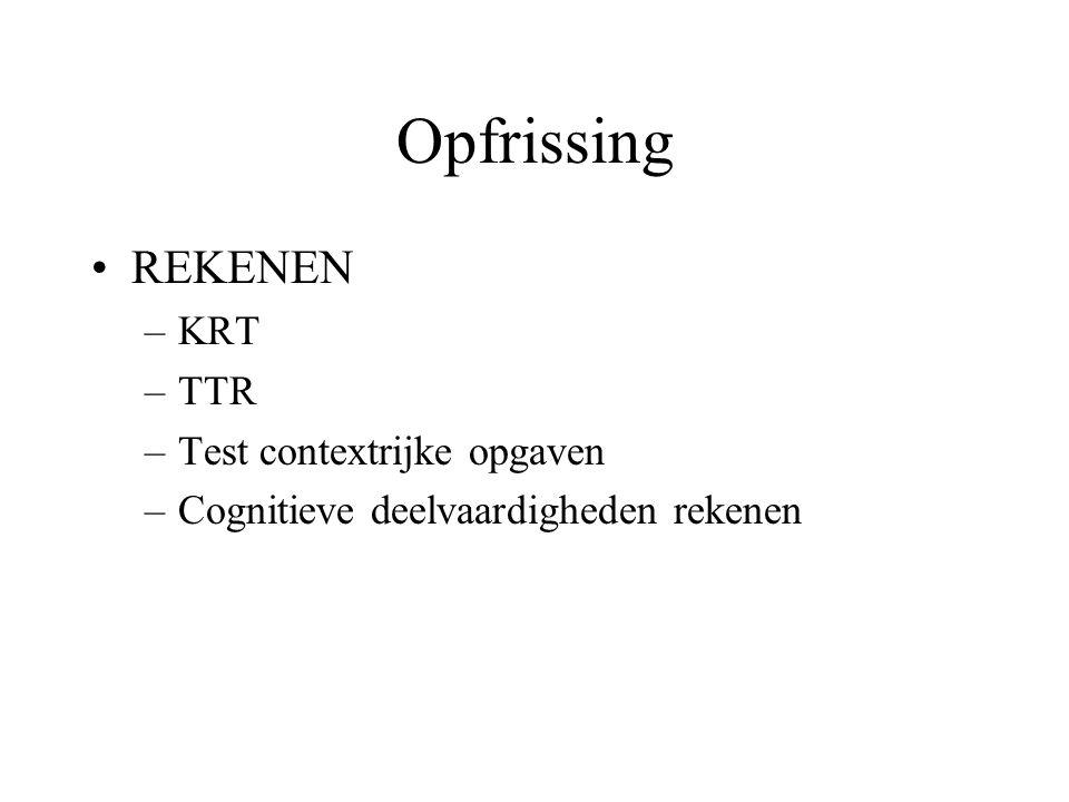 Opfrissing REKENEN KRT TTR Test contextrijke opgaven