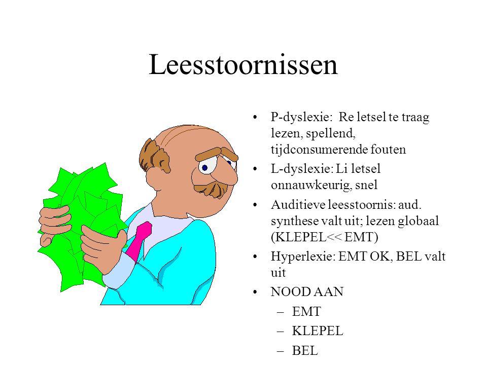 Leesstoornissen P-dyslexie: Re letsel te traag lezen, spellend, tijdconsumerende fouten. L-dyslexie: Li letsel onnauwkeurig, snel.
