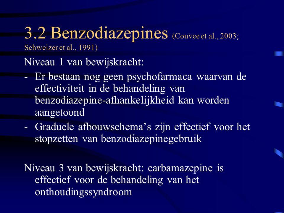 3.2 Benzodiazepines (Couvee et al., 2003; Schweizer et al., 1991)