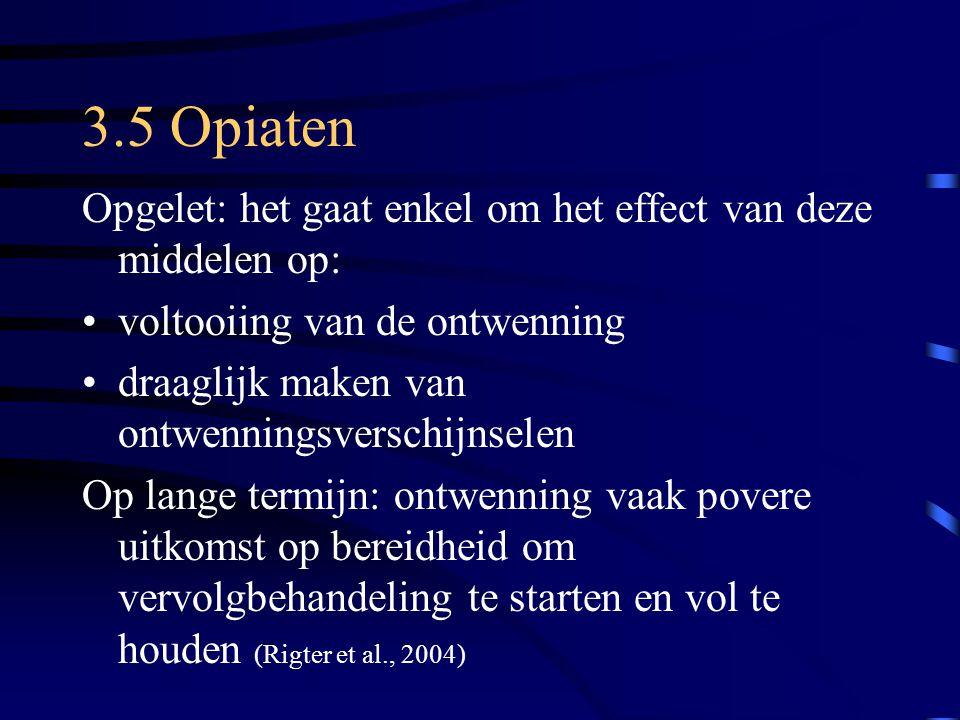3.5 Opiaten Opgelet: het gaat enkel om het effect van deze middelen op: voltooiing van de ontwenning.