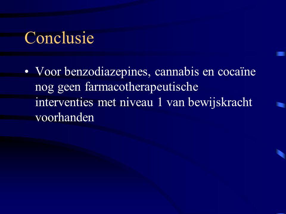 Conclusie Voor benzodiazepines, cannabis en cocaïne nog geen farmacotherapeutische interventies met niveau 1 van bewijskracht voorhanden.