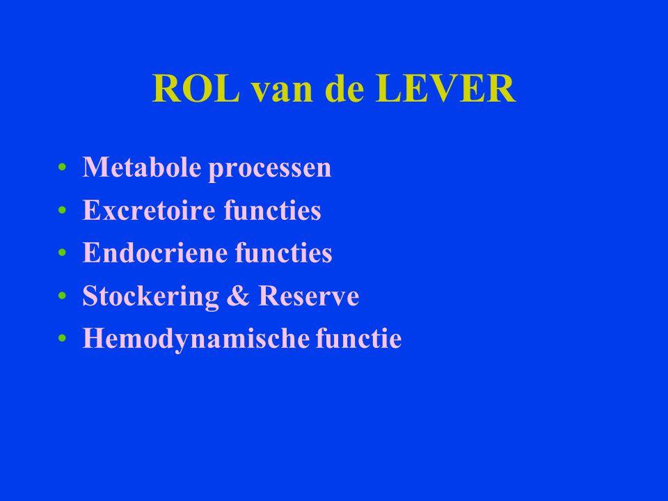 ROL van de LEVER Metabole processen Excretoire functies