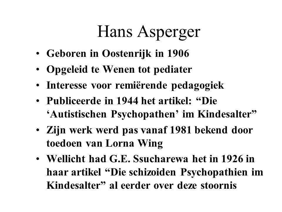 Hans Asperger Geboren in Oostenrijk in 1906