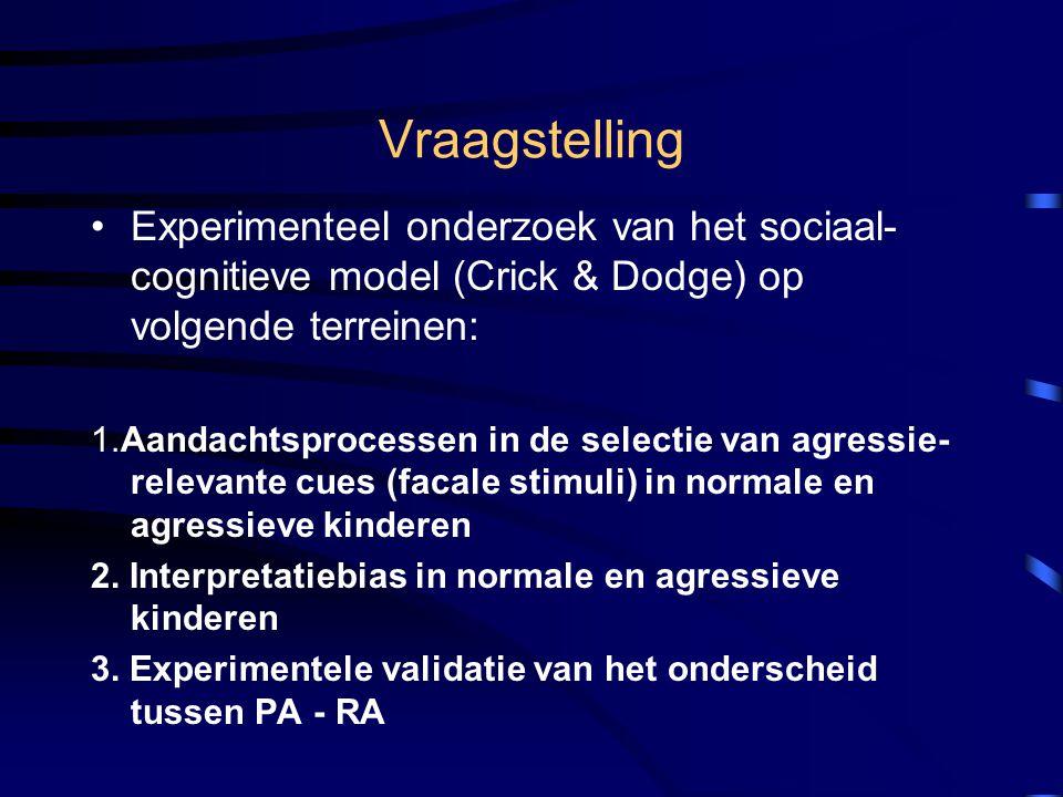 Vraagstelling Experimenteel onderzoek van het sociaal-cognitieve model (Crick & Dodge) op volgende terreinen: